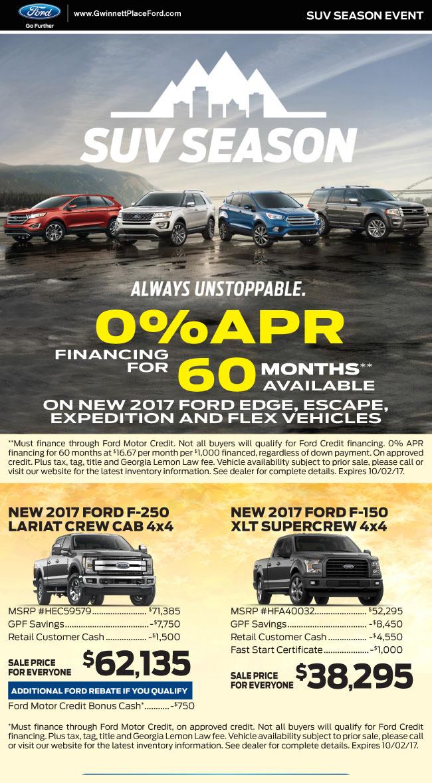 Suv Season Zero Percent Financing On All Suvs Gwinnett Place Ford